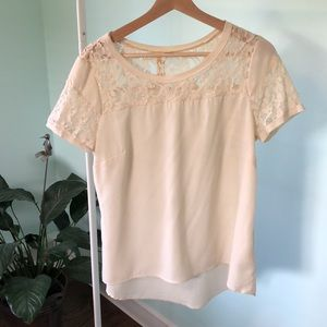 Adiva Cream sheer top with Lace Shoulders